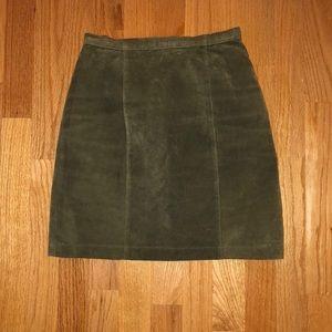 Vintage Fox Run Olive Suede Skirt